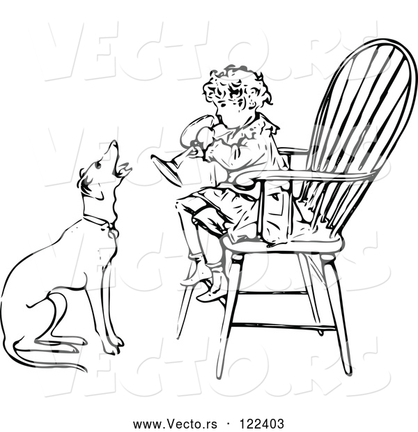 Vector of Vintage Black and White Boy Playing a Horn in a Chair As a Dog Barks Along