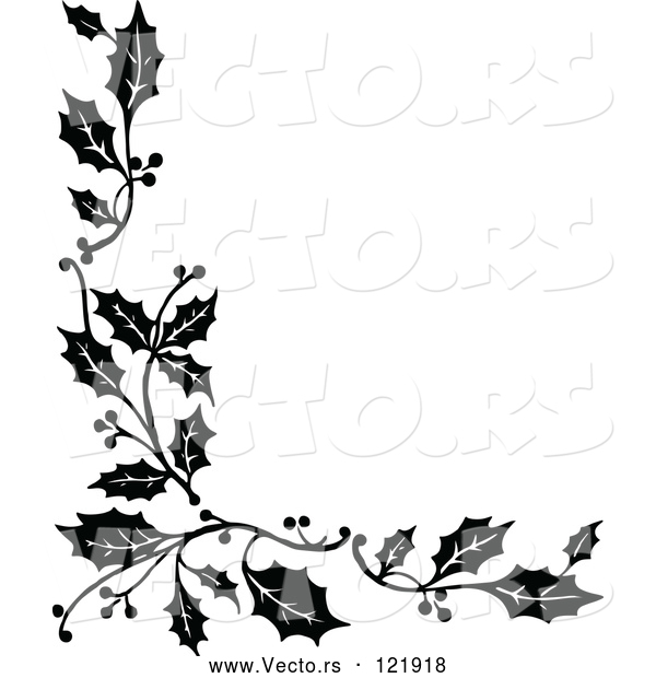 : Vector of Vintage Black and White Corner Border of Christmas Holly Sprigs