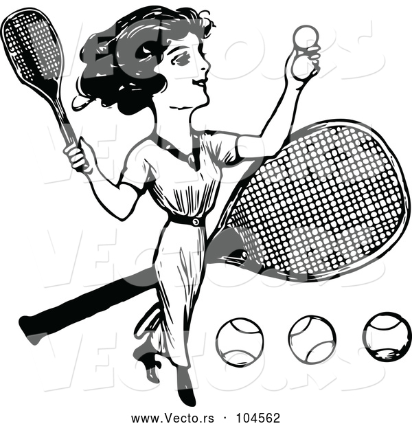 Vector of Vintage Black and White Lady Playing Tennis