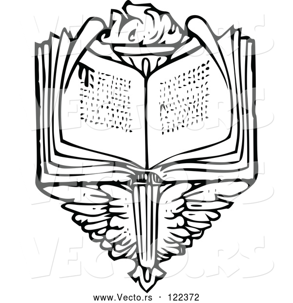 Vector of Vintage Black and White Open Book over Wings and a Torch
