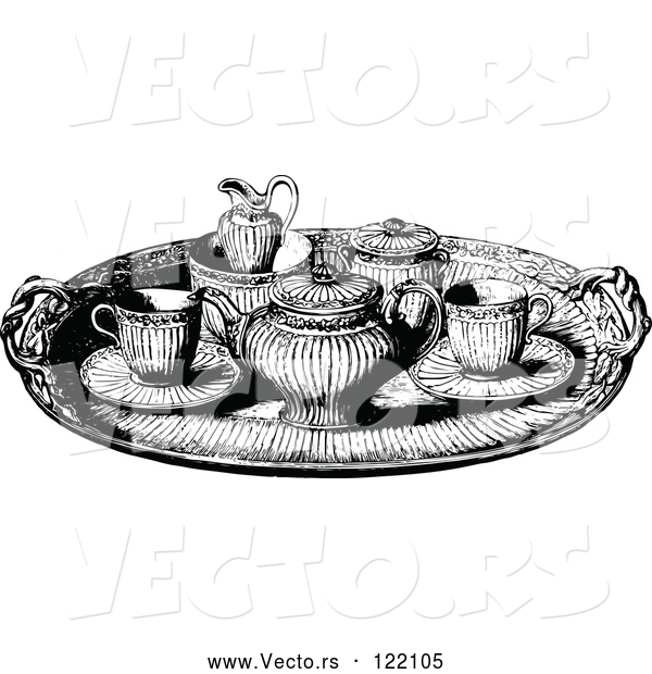 Vector of Vintage Black and White Tea Service Tray