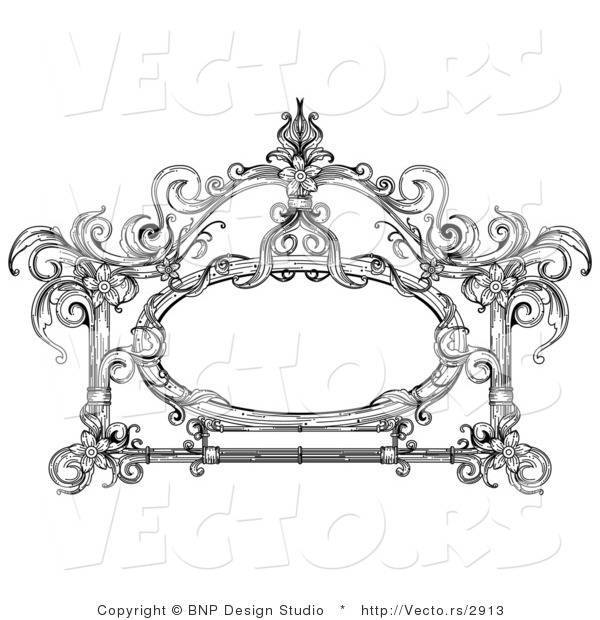 Vector of Vintage Black and White Victorian Frame Design