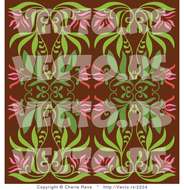 Vector of Vintage Pink and Green Floral Background Pattern over Brown