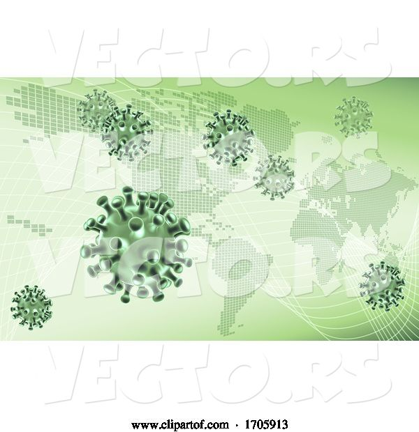 Vector of Virus Cells Viral Spread Pandemic Map Concept