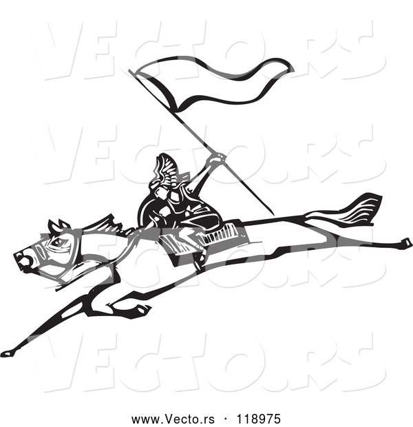 Vector of Warrior with a Flag on a Leaping Horse - Black and White Woodcut