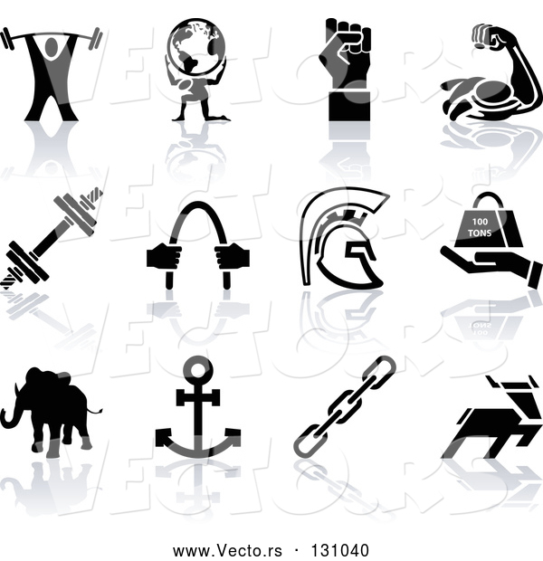 Vector of Weigh Tlifter, Guy Holding Globe, Muscles, Weights, Helmet, Elephant, Anchor, Deer, and Links