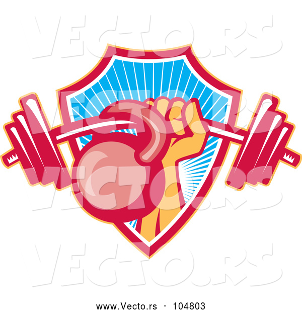Vector of Weightlifter Hand with a Barbell and Kettlebell Emerging from a Ray Shield
