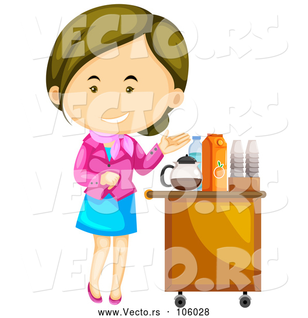 Vector of Welcoming White Flight Attendant Lady Presenting Beverages