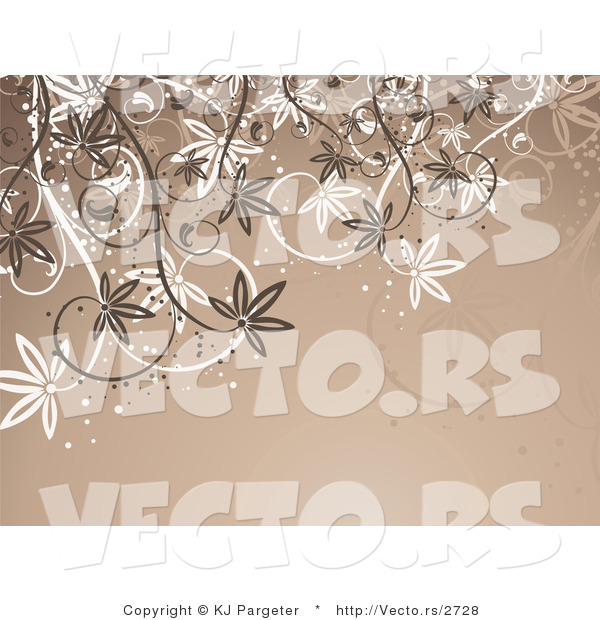 Vector of White and Brown Vines over Brown Background Design