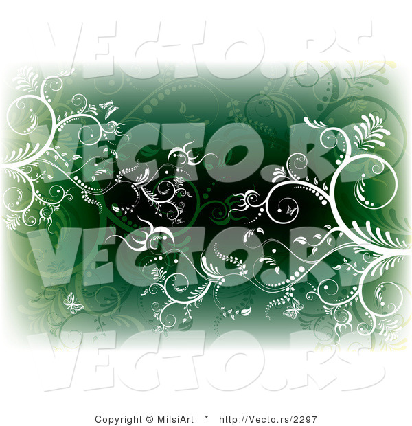 Vector of White and Green Vines and Butterflies - Background with Edges Fading to White