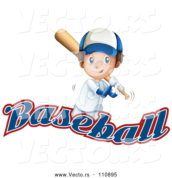 Vector of White Boy Baseball Player Batting over Text