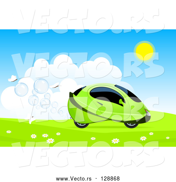 Vector of White Butterflies Behind a Green Hydro Car Driving Through a Meadow