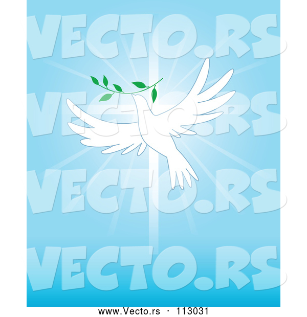 Vector of White Dove Flying with a Branch over a Cross and Blue Rays