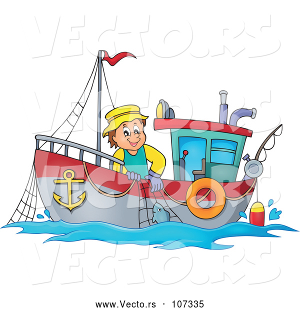 Vector of White Fisher Man on a Boat
