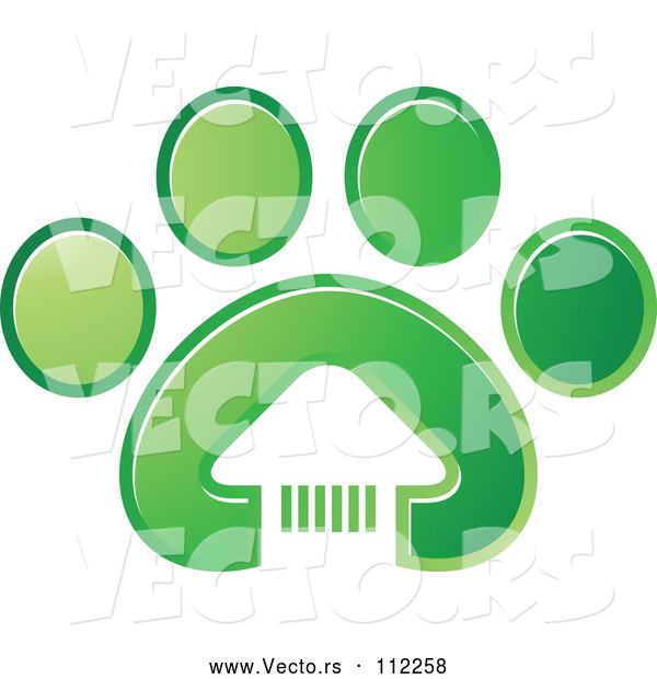 Vector of White House in a Gradient Green Dog Paw Print