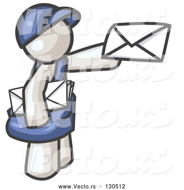 Vector of White Mail Guy Delivering a Letter