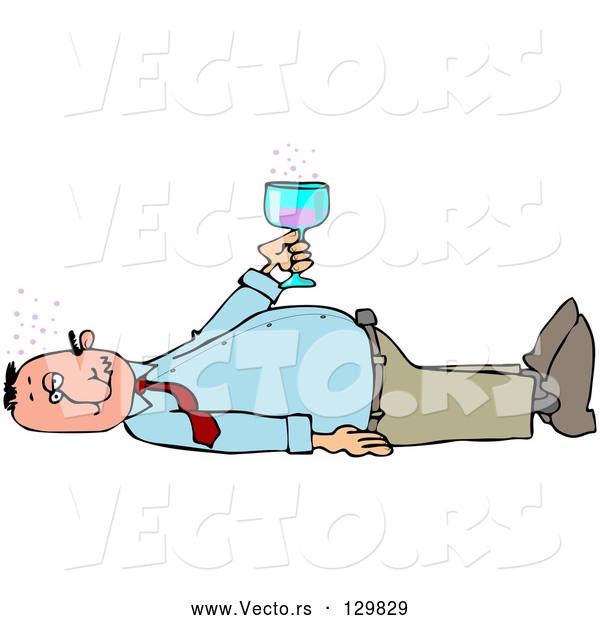 Vector of White Man Laying on His Back After Passing out from Getting Too Drunk, Holding a Glass of Alcohol over His Belly