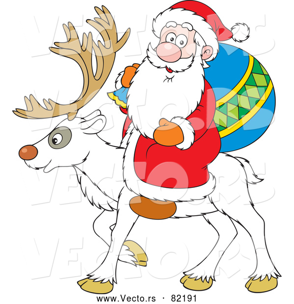 Vector of White Reindeer with Santa
