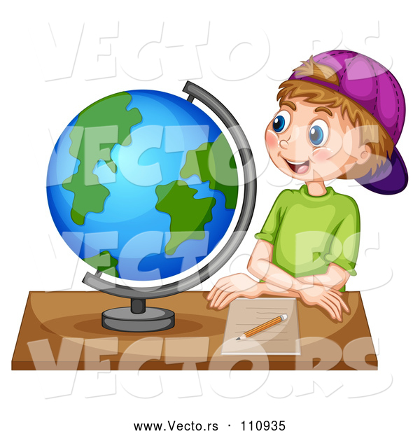 Vector of White School Boy Sitting at a Desk and Looking at a Globe
