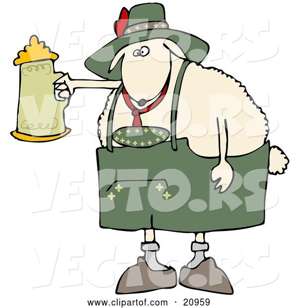 Vector of White Sheep Getting Drunk with a Beer Stein at Oktoberfes