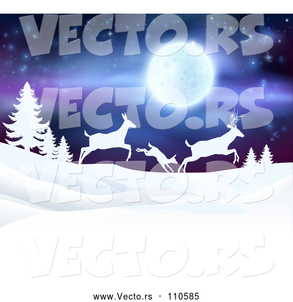 Vector of White Silhouetted Family of Deer Leaping over Snowy Hills and Evergreens Under a Full Moon