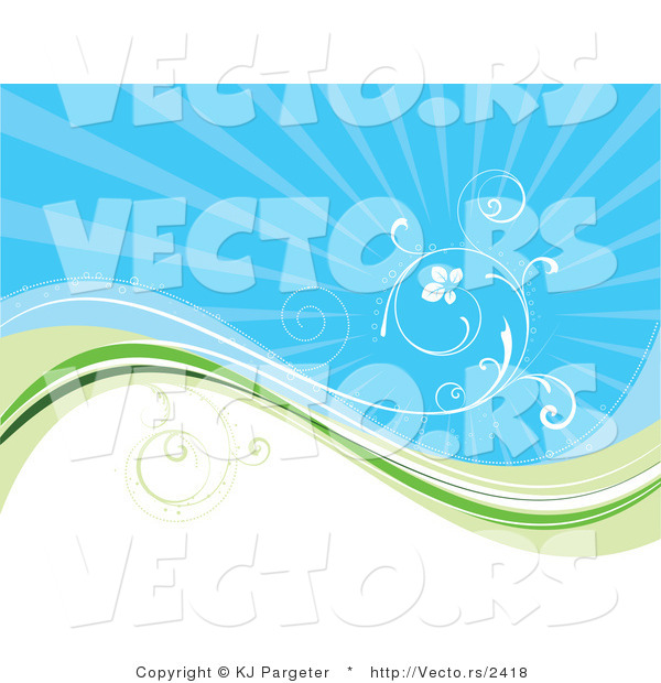 Vector of White Vine Curling Above Green Wave with Blue Background