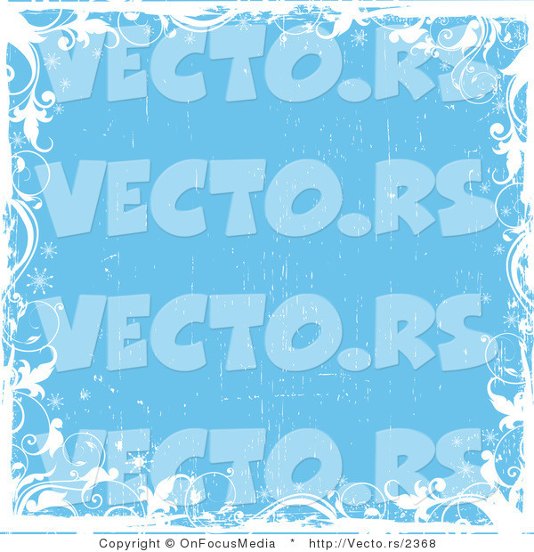 Vector of White Vines with Sparkles over a Grungy Blue Background