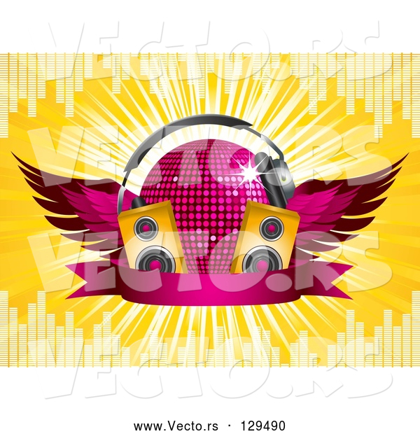 Vector of Winged Pink Purple Disco Ball with Headphones, Speakers and a Banner, on a Yellow Bursting Background with Equalizer Bars