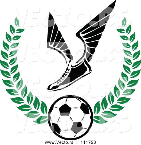 Vector of Winged Soccer Cleat Shoe over a Ball in a Green Wreath