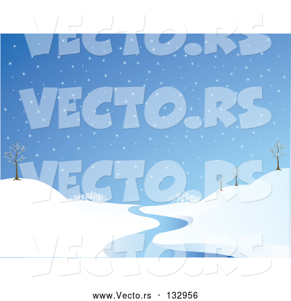 Vector of Wintry Snowflakes Falling on a Landscape with Bare Trees and a Winding Stream