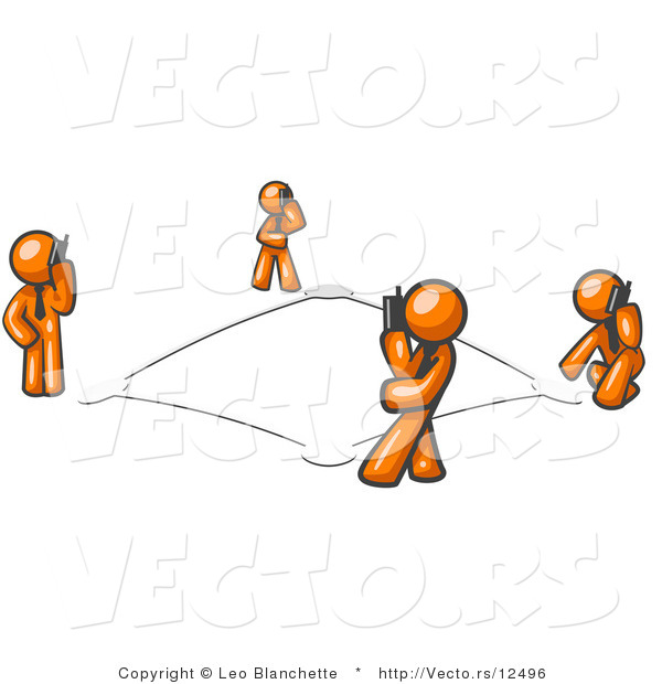 Vector of Wireless Telephone Network of Orange Guys Talking on Cell Phones