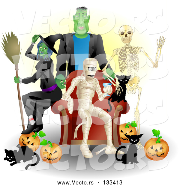 Vector of Witch, Frankenstein, Skeleton, Mummy, Black Cats and Pumpkins at a Halloween Party