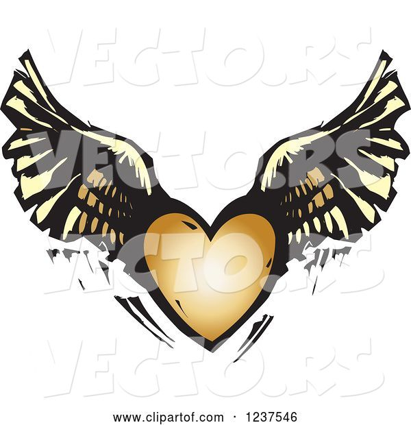 Vector of Woodcut Flying Winged Heart