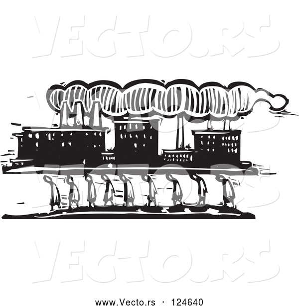 Vector of Woodcut Styled Line of People Walking near a Factory
