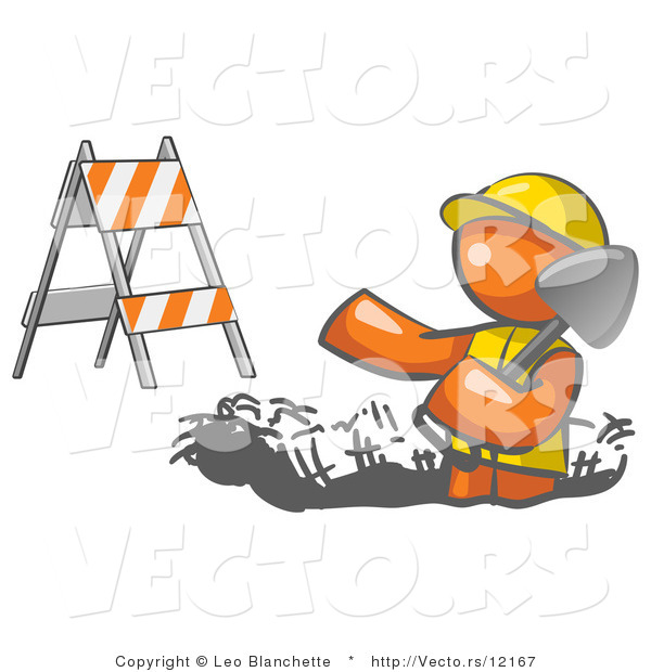 Vector of Working Orange Guy Wearing a Vest and Hardhat Standing in a Hole While Digging with a Shovel in a Construction Zone