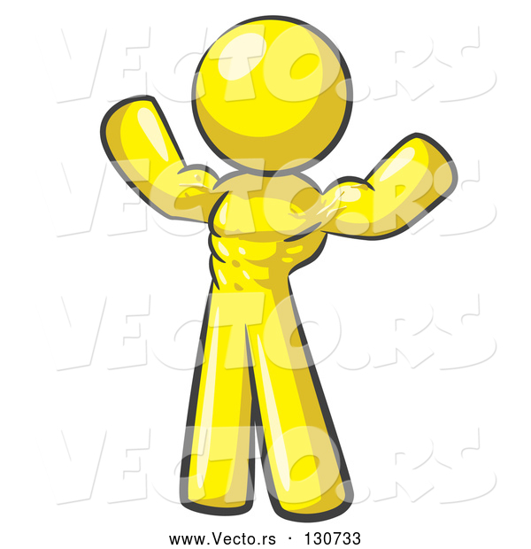 Vector of Yellow Bodybuilder Guy Flexing His Muscles and Showing the Definition in His Abs, Chest and Arms