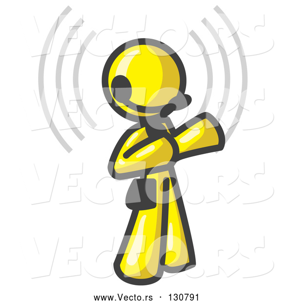 Vector of Yellow Customer Service Representative Taking a Call with a Headset in a Call Center