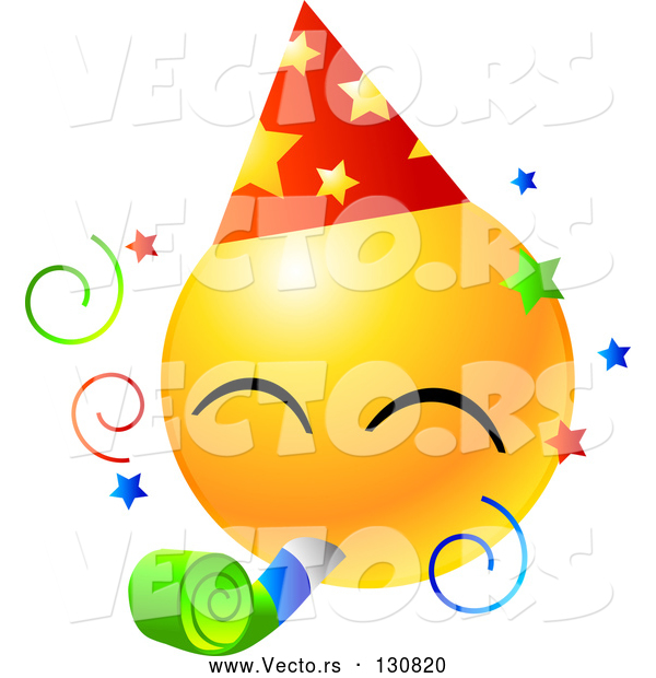 Vector of Yellow Emoticon Face Wearing a Party Hat and Blowing on a Noise Maker at a Party