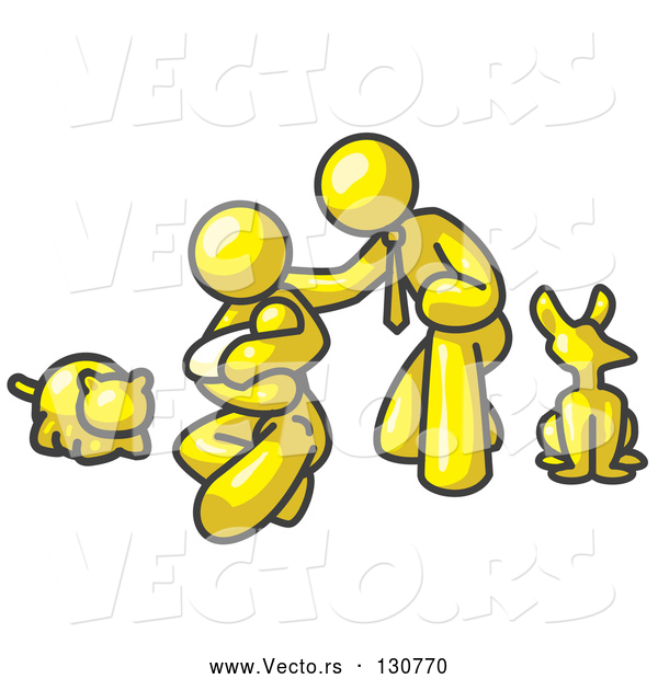 Vector of Yellow Human Family: Father, Mother and Newborn Baby with Their Dog and Cat
