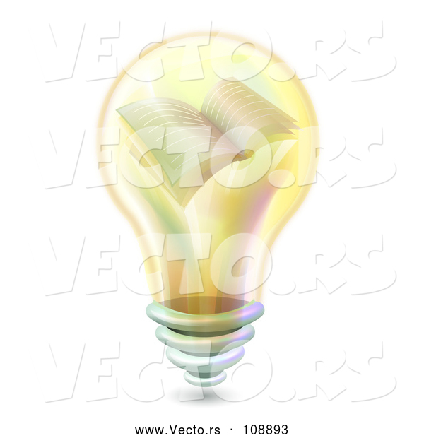 Vector of Yellow Light Bulb with a Book on the Inside
