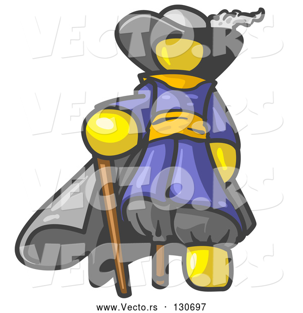 Vector of Yellow Male Pirate with a Cane and a Peg Leg