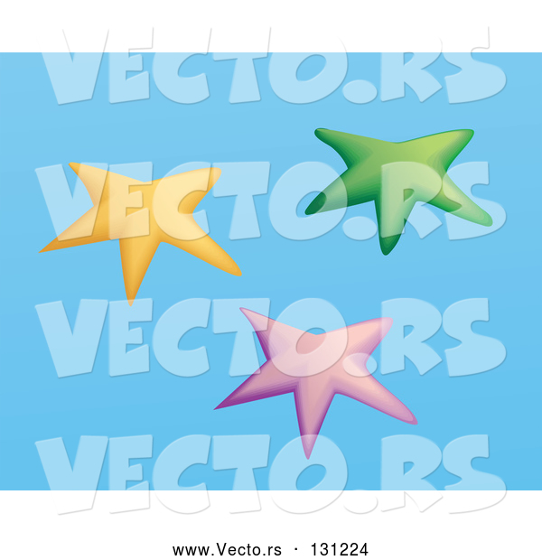 Vector of Yellow, Pink and Blue Group of Starfish on a Blue Background