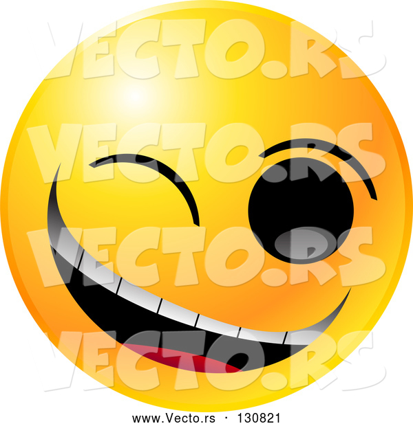 Vector of Yellow Smiley Winking and Grinning While Flirting or Joking