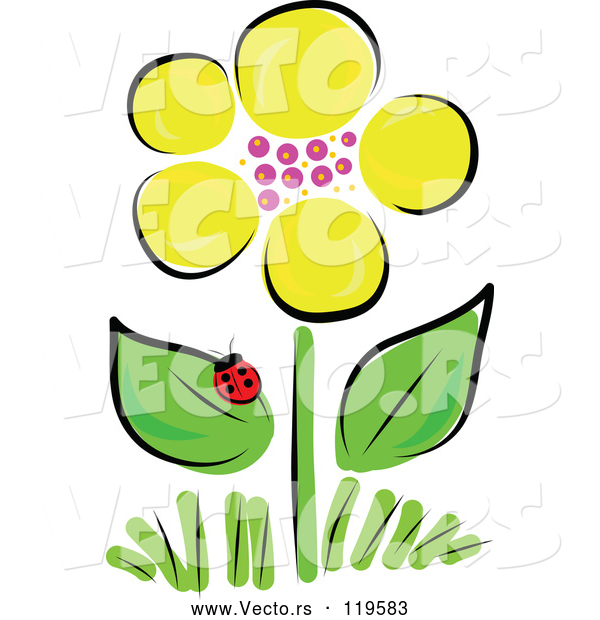 Vector of Yellow Spring Flower and Ladybug