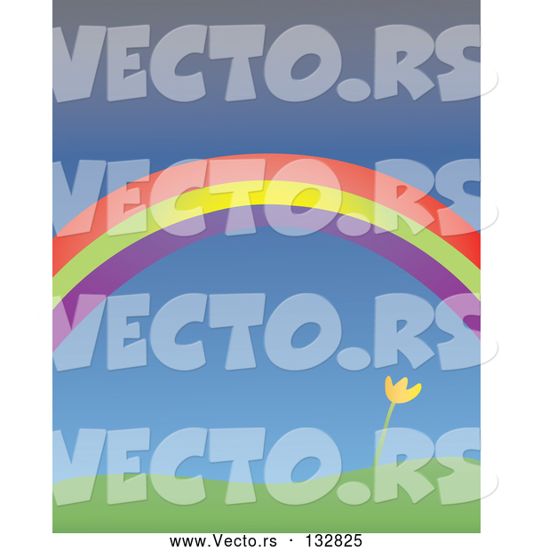 Vector of Yellow Spring Tulip Growing Under a Colorful Rainbow