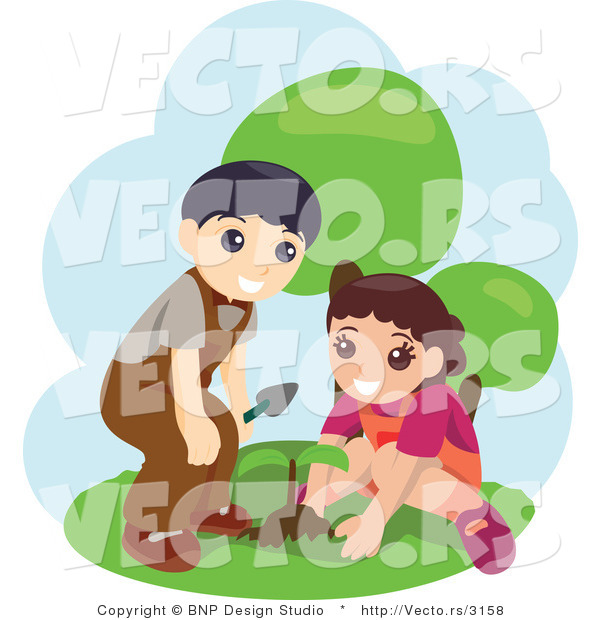Vector of Young Boy and Girl Planting Seeds
