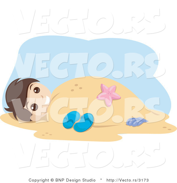 Vector of Young Boy Buried Under Warm Beach Sand