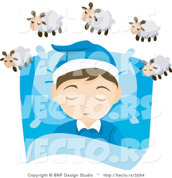 Vector of Young Boy Counting Sheep While Asleep in His Bedroom