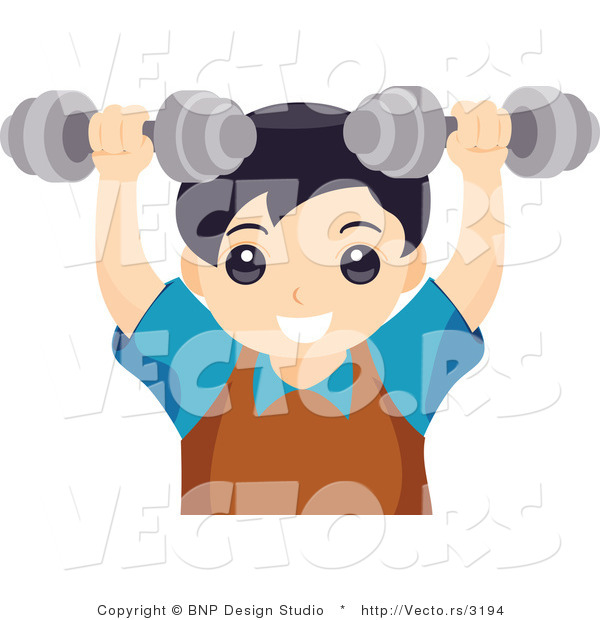 Vector of Young Boy Lifting Dumbbell Weights