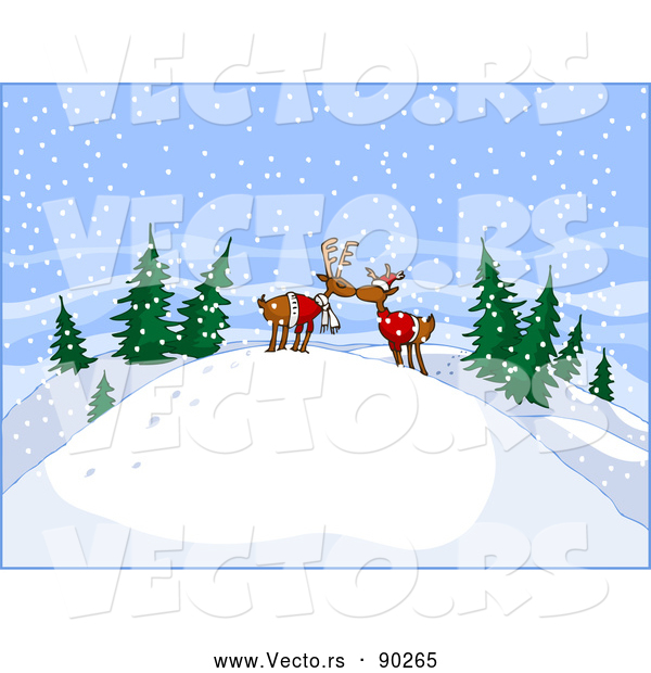 Vector of Young Cartoon Reindeer Kissing on Snow Hill in the Woods